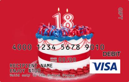 18th Birthday Visa Gift Card