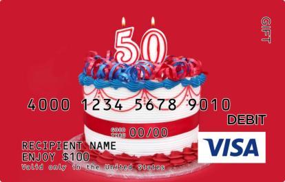 50th Birthday Visa Gift Card