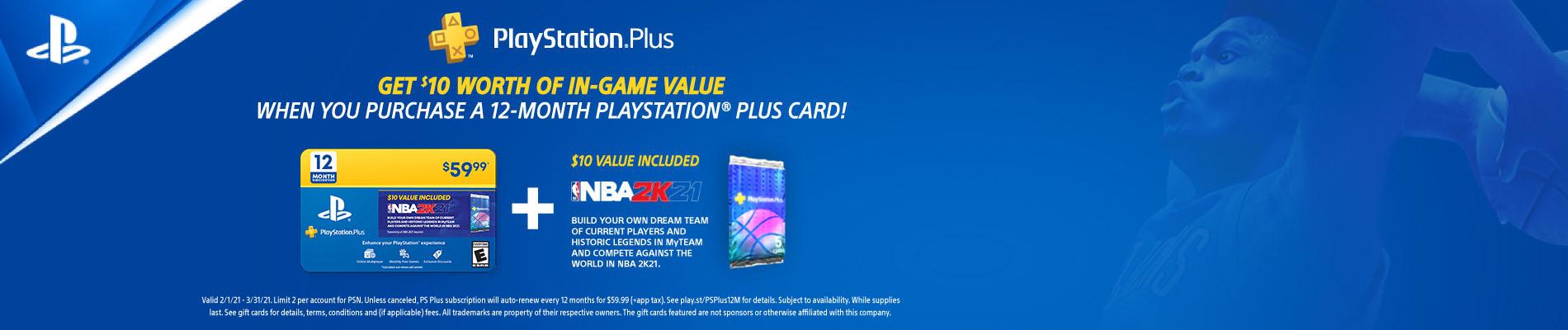 PlayStation Plus 12 Month Membership with NBA 2K21 Bonus eGift Card