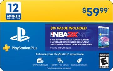 PlayStation Plus 12 Month Membership eGift Card + NBA 2K21 Bonus