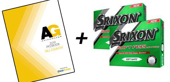 Discount still available in December! 2019 AG Hill Country Passbook + TWO Dzn. Srixon SoftFeel Golf Balls!