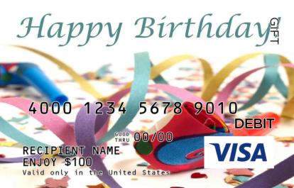 Birthday Confetti Visa Gift Card