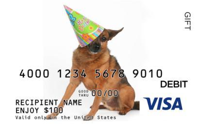 Birthday Dog Visa Gift Card
