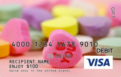 Candy Hearts Visa Gift Card