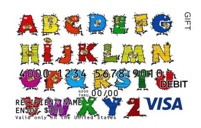 Cartoon Alphabet Visa Gift Card Giftcardmall Com