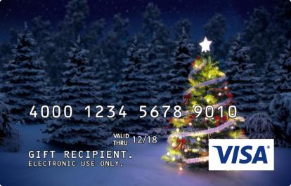 Christmas Tree Design Visa Gift Card