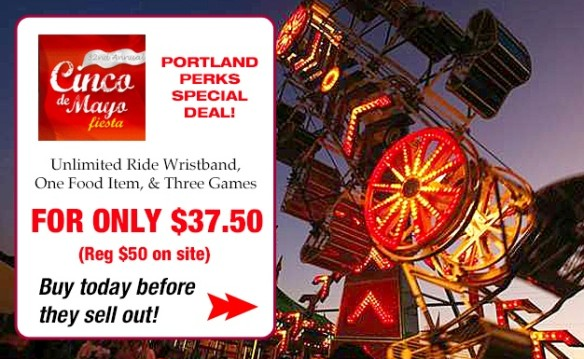 Unlimited Ride Wristband that includes 3 games and 1 select food item for Cinco De Mayo Fiesta $37.50