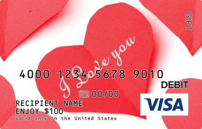 Cut-out I Love You Visa Gift Card