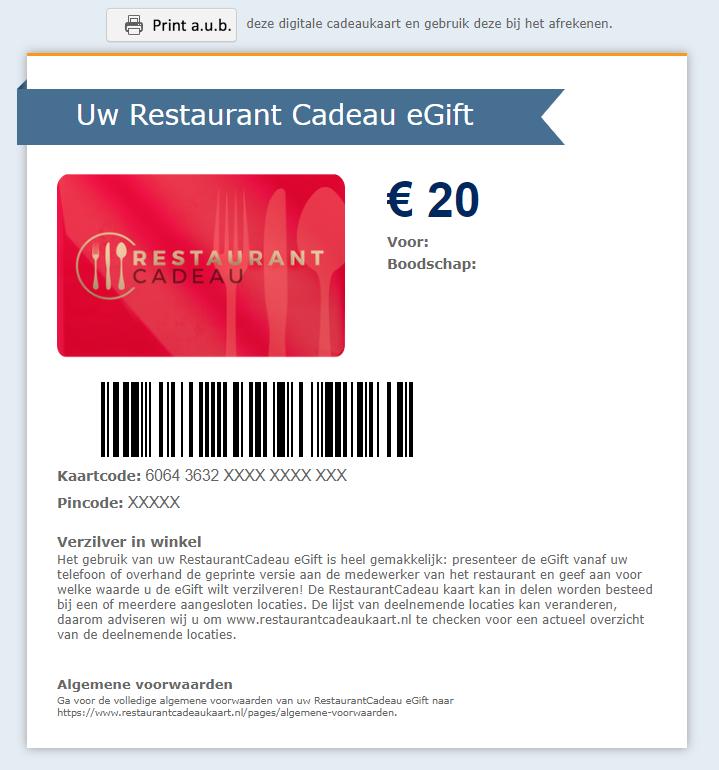 RestaurantCadeau digitale versie