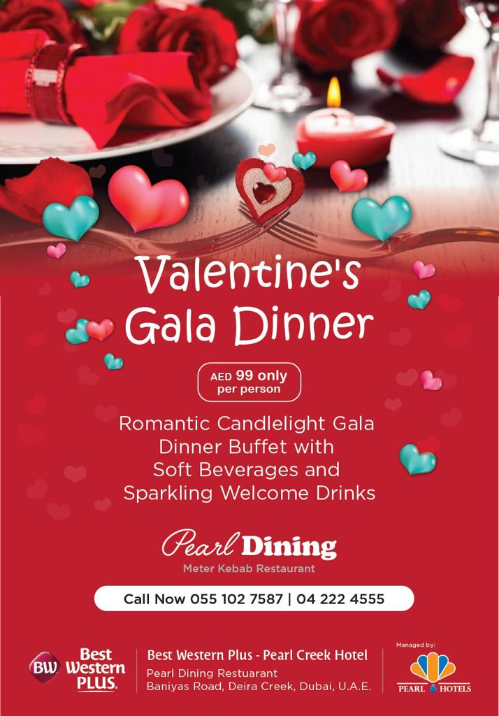 Valentine's Romantic Candlelight Dinner At Pearl Creek Hotel, Starting from AED 89