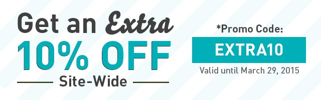 Get an Extra 10 percent off using promo code: EXTRA10