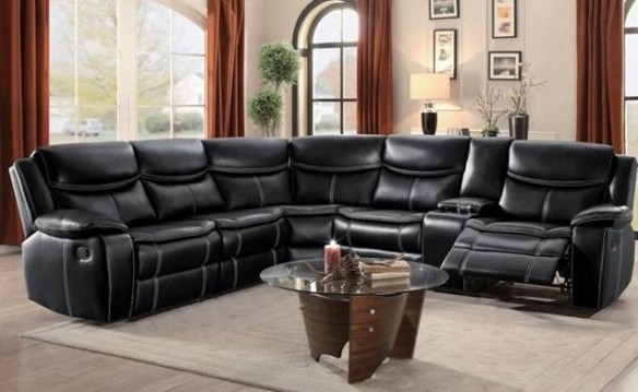 Encore Home Furnishings - Black Leather 3-Piece Reclining Sectional