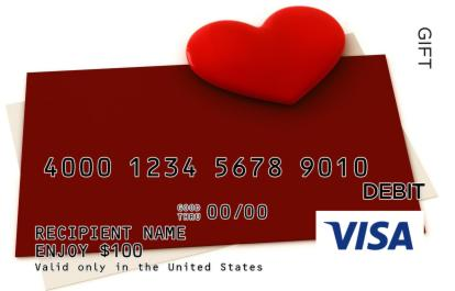 Envelopes With Heart Visa Gift Card