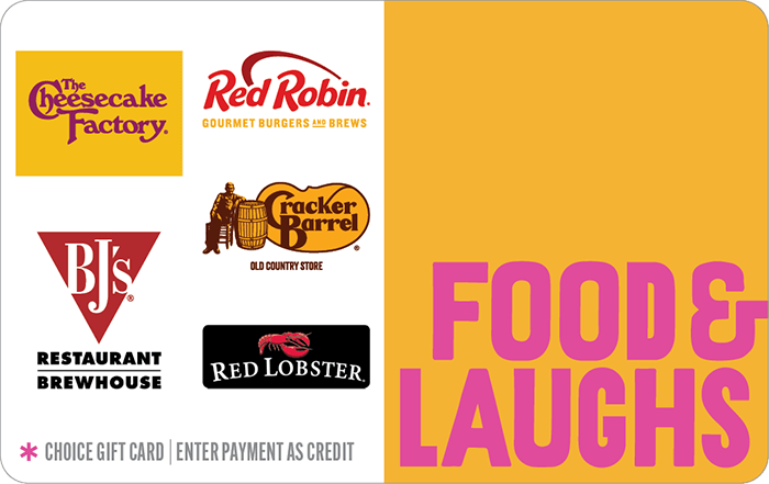 Food & Laughs Choice Gift Card