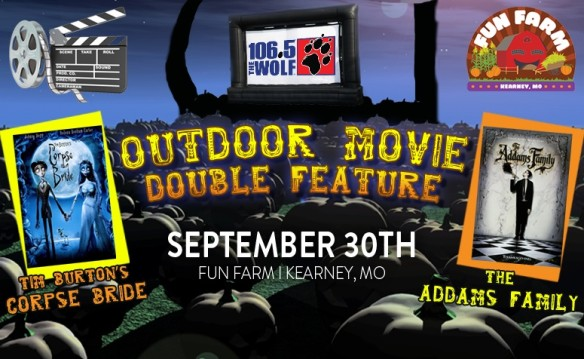 Outdoor Movie Double Feature: Tim Burton's Corpse Bride & The Addams Family at Fun Farm Pumpkin Patch and Corn Maze