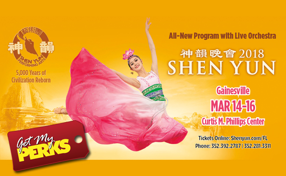Gainesville March 16 Shen Yun tickets and Embers gift card