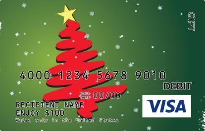 Green and Red Christmas Visa Gift Card   GiftCardMall.com