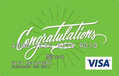 Congratulations in Green Visa Prepaid Card