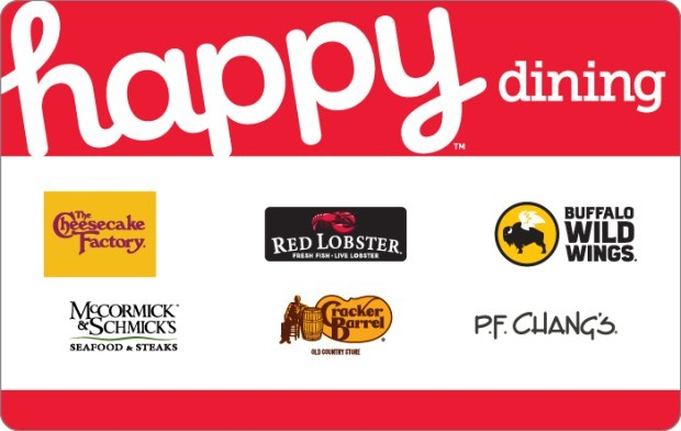 Save $10 off $50 Happy Dining Gift Card