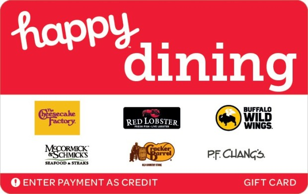 Get 15% off a $50 Happy Dining Gift Card