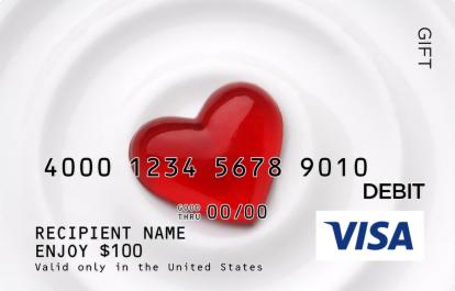 Heart On White Visa Gift Card