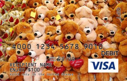 I Love You Teddy Bears Visa Gift Card