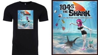 Official Merch from 104.3 The Shark. Pick your Size: Crew Neck T-Shirts with Scuba Girl Logo.