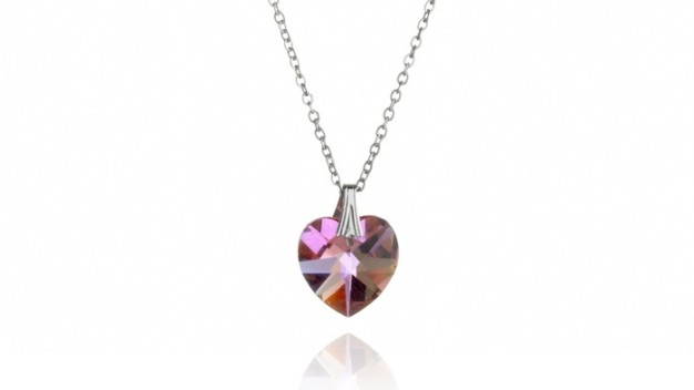 Get my perks swarovski heart necklace love is in her heart stunning pink swarovski heart necklace only 20 mozeypictures Images