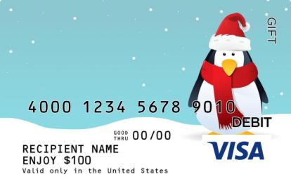 Penguin in a Scarf Visa Gift Card